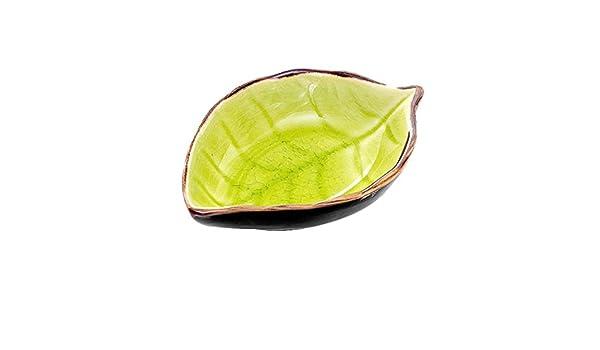 SUJING - Juego de Platos de cerámica Multiusos con Forma de Hoja, platillos de Porcelana, Cuenco para vinagre, Ensalada, Salsa de Soja/Wasabi: Amazon.es: Hogar