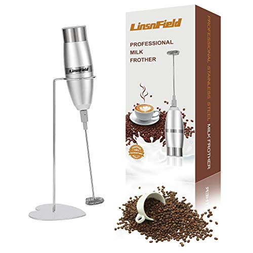 LinsnField Milk Frother Handheld Foam Maker For Coffee, Latte, Cappuccino, Hot Chocolate, Stainless Steel Stand Included