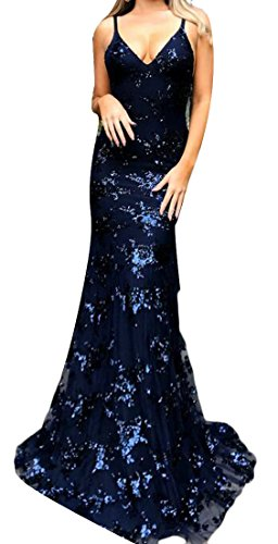 Blue Maxi Deep Strap Party V Neck Dark Cromoncent Sparkle Dress Women's Sexy Spaghetti Sequin Formal IwIq6PS