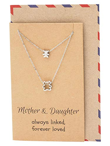 Quan Jewelry Handmade Mother Daughter Bear Cub Matching Pendant Necklace Set for 2, Mom and Baby Jewelry, Animal Themed Charm, Inspirational Quote on Greeting Card,16-in to 18-in ()