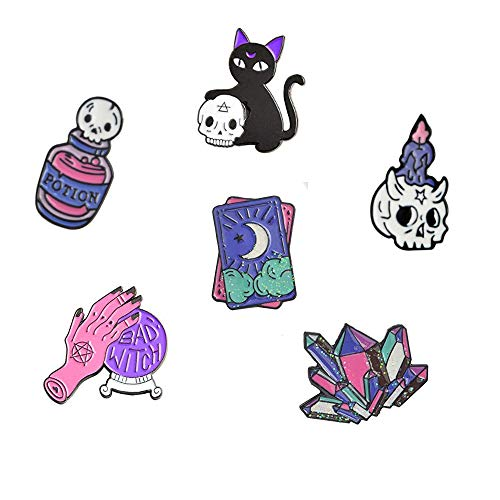Cute Enamel Lapel Pins Sets Cartoon Animal Plant Fruits Foods Brooches Pin Badges for Clothing Bags Backpacks Jackets Hat DIY (Witch Skulls Halloween Set of 6) ()