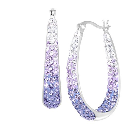 Crystaluxe Oval Hoop Earrings with Lavender Swarovski Crystals in Sterling Silver with Gold Posts