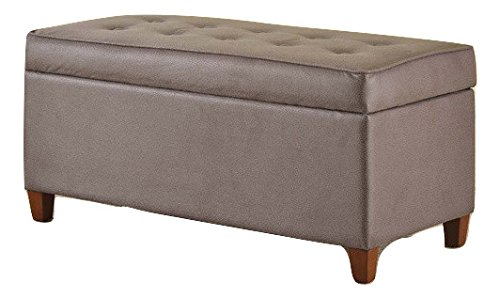 Grey Linen Storage Bench for Living Room Ottoman Modern Microsuede Cushioned