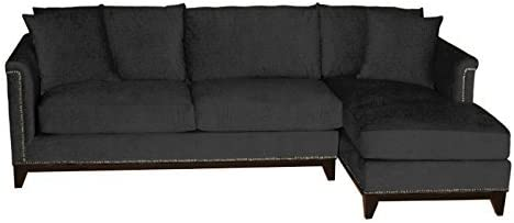 Amazon.com: La Brea Studded 2-Piece Sectional, Charcoal, LAF ...