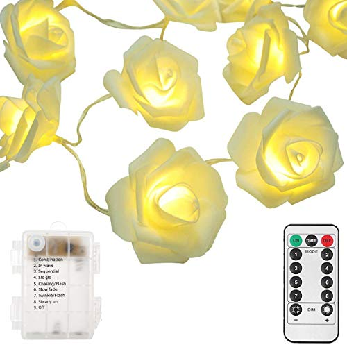 echosari [Updated Version Battery Operated 15 ft 30 LED White Rose Flower Fairy String Lights with Remote for Valentine's, Wedding, Bedroom, Indoor Decoration (Dimmable, Timer, 8 Modes, Warm White) (Lights For Flower String Bedroom)