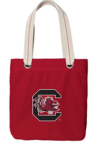 - Broad Bay University of South Carolina Tote Bag Rich Dye Washed RED Cotton Canvas