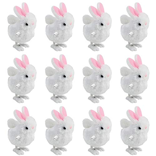 3 otters Wind Up Toy for Kids, 12pcs Party Favors Wind-Up Jumping Rabbit Novelty Toys , White and Pink