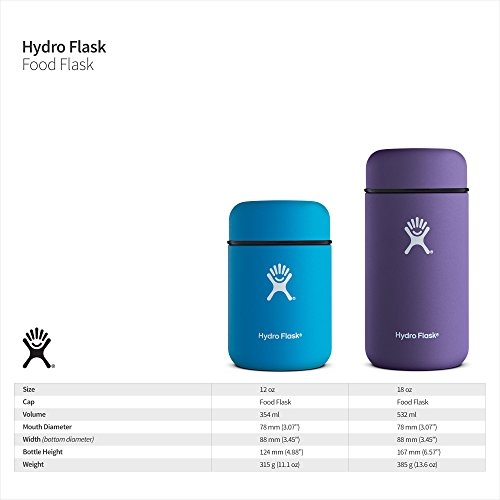 Hydro Flask 12 oz Food Flask Thermos Jar | Stainless Steel & Vacuum Insulated | Leak Proof Cap | Black