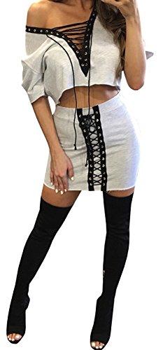 2 Piece V-Neck Skirt - 8