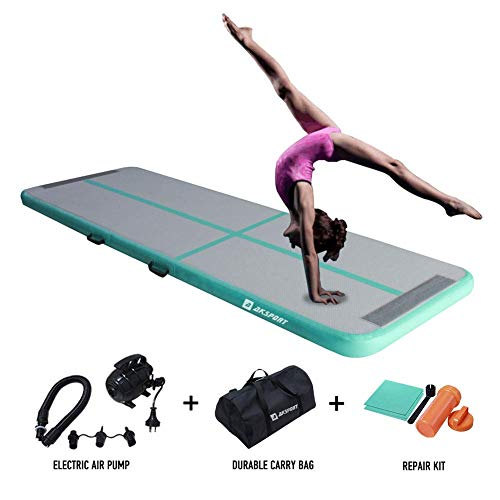 AKSPORT 10ft Air Track Tumbling Mat for Gymnastics Inflatable Airtrack Floor Mats with Electric Air Pump for Home Use Cheerleading Training (Mint Green)