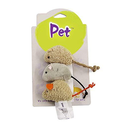 Wishwin 3pc Plush Cat Toys False Mice Shape Toy for Pet Biting Scratching Playing