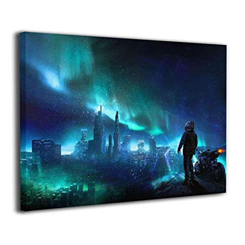 Henry Huxley Wall Art Decor Painting On Canvas Print, Aurora Motocycle Man Stretched and Frameless,for Kitchen Living Room Bedroom Decoration Home Office Wall Posters 16x20 Inch -