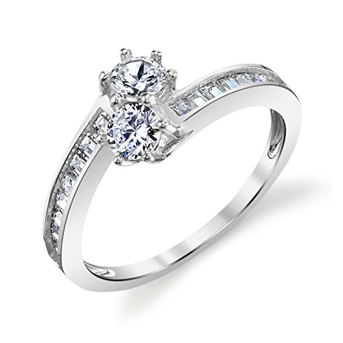 14k White Gold Two Stone Couple Lover's Forever Ring Size 8 by Tesori & Co
