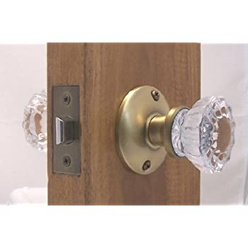 Fluted Crystal Glass U0026 Antique Brass Passage Door Knob Sets For Modern Doors+includes  Our New Secure Set Screw System. The Most Cost Effective Set For Home ...