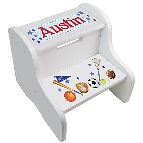 (Personalized Sports White Step Stool)