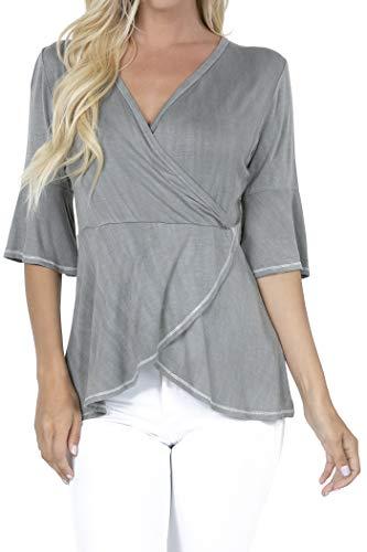 - P1805 Women's Deep V-Neck 3/4 Sleeve Cross Wrap Tunic Peplum Blouse Tops Grey XL