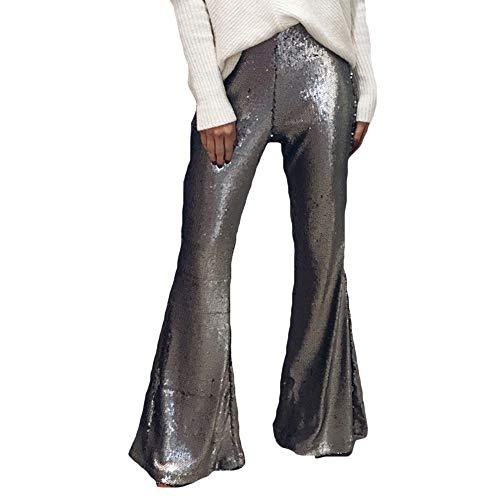 Women's Sequin Flare Pants High Waisted Shining Wid Leg Bell Hem Bottom Trousers Pants (Silver, - Waisted Sequin High