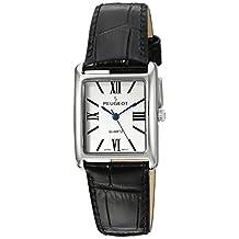 Peugeot Women's Quartz Metal and Leather Dress Watch, Color:Black (Model: 3036SBK)