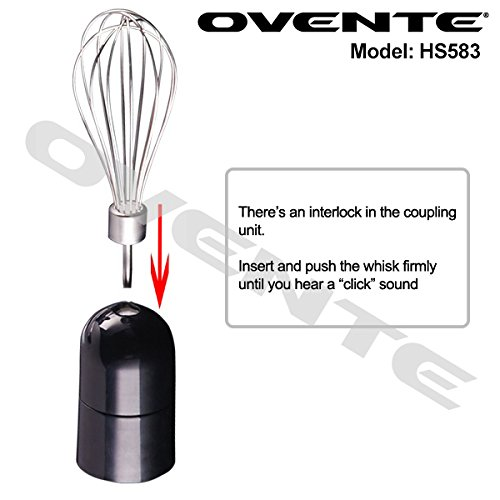Ovente Multi-Purpose Immersion Hand Blender Set – 300-Watts, 2-Speed – Stainless Steel Blades and Detachable Shaft – Includes Egg Whisk and BPA-Free Beaker (24 oz) – Red (HS583R) by Ovente (Image #4)