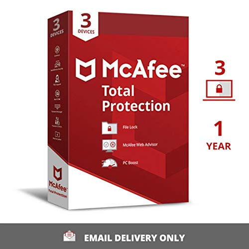 McAfee Total Protection (Windows / Mac / Android / iOS) 3 Devices, 1 Year (Single Key) (Email Delivery – No CD)