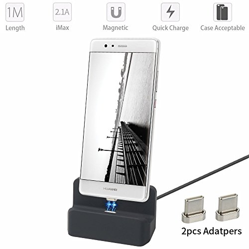 SIKAI 3rd Magnetic Charging Station Desktop charging Cradle for USB C Charging Dock [Data Sync] Type C Charging Cable with 2pcs Connectors [Accept Armor Phone case] 3.3 Feet (Black-[USB-C])