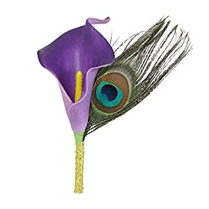 Lily Garden Calla Lily Boutonniere Purple and Peacock for Men Artificial Flower 99
