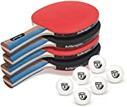 Killerspin Jetset 4 Premium Set - Table Tennis Set with 4 Ping Pong Paddles with Premium Rubbers and 6 Ping Po