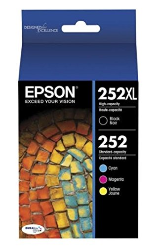 Epson, T252XL-BCS, 252XL High Capacity Black, 252 Std. Capacity Cyan, Magenta, Yellow; 4 ink cartridge Combo Pack; Genuine OEM
