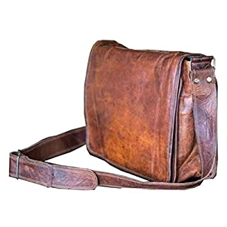 18 inch Leather Full Flap Messenger Handmade Bag Laptop Bag Satchel Bag Padded Messenger Bag School Brown (18x13)