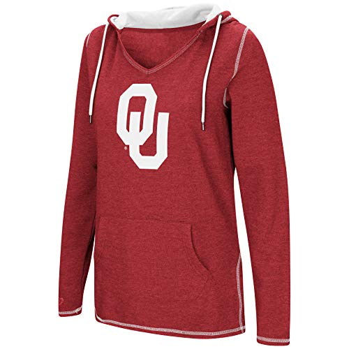 Colosseum Women's NCAA-Scream It!- Dual Blend-Fleece V-Neck Hoodie Pullover Sweatshirt-Oklahoma Sooners-Crimson-Medium ()