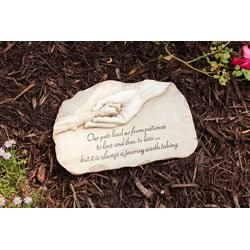 "Evergreen Garden Dog Paw in Hand Devotion Painted Polystone Stepping Stone - 12""W x 0.5""D x 7.5""H (Lead Walkway)"