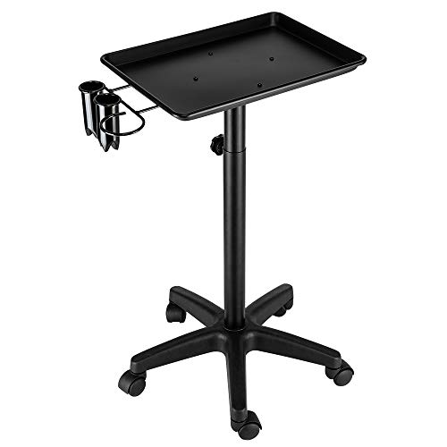 Mefeir Salon Rolling Aluminum Tray Cart with Accessory Caddy, Hairdressing Tool Storage Trolley, Hair Coloring Beauty SPA Service Holder