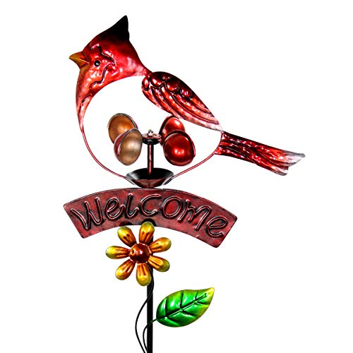 Welcome Sign Garden Stake Wind Spinner - Metal Red Cardinal Kinetic Spinners in Red Metallic Coat - Kinetic Art Vertical Wind Spinners in Bird Metal Design, 11 x 36 Inches ()