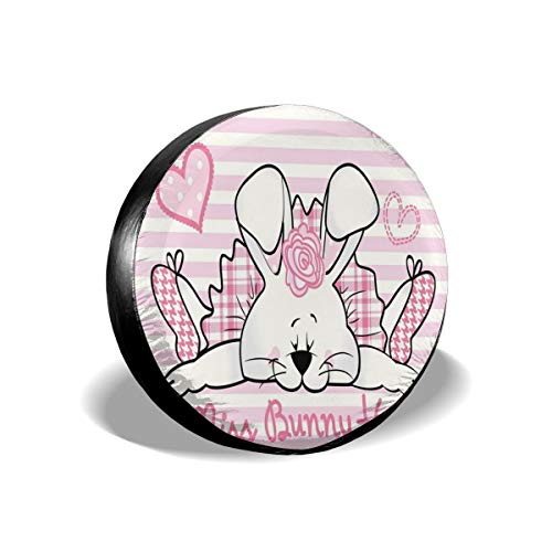GULTMEE Tire Cover Tire Cover Wheel Covers,Miss Bunny Hoop in Love Romantic Cute Rabbit Valentines Day in Hearts Artwork,for SUV Truck Camper Travel Trailer Accessories(14,15,16,17 Inch) 14