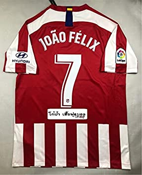 Brook Joao Felix#7 Atletico Madrid Home Soccer Jersey 2019-2020 LALIGA Patch (Red&White, S): Amazon.es: Deportes y aire libre