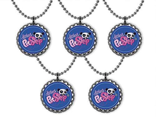 Set of 10 Littlest Pet Shop Bottle Cap Ball Chain Necklaces Party Favors Birthday Favors Gifts Door Prizes -