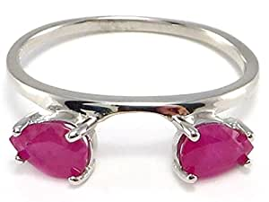 Large Pear Ruby Ring Wrap Guard Enhancer 10k white gold