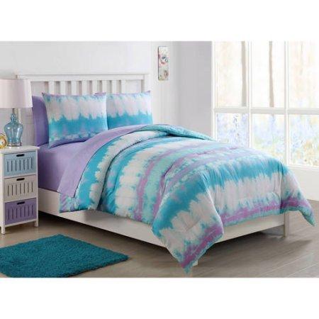 Pink Lemonade Tie Dye Bed in a Bag Comforter Set with Sheet Set, Twin (Tie Dye Twin Bedding)