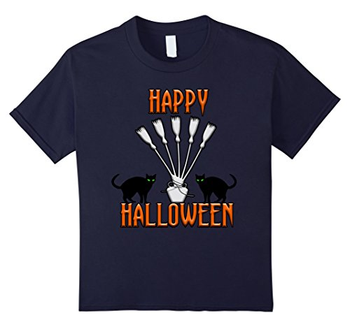 Crazy Cat Guy Costume (Kids Happy Halloween Black Cats and Witches Brooms T-Shirt 12 Navy)