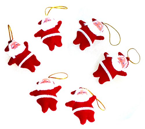 Lanue Mini Santa Claus Doll Pendant Hanging Ornaments for Christmas Tree Decorations,12pcs