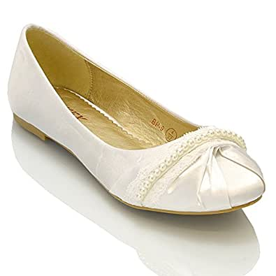 Essex Glam Womens White Satin Lace Pearl Bridal Ballerina Pumps 5 2A(N) US