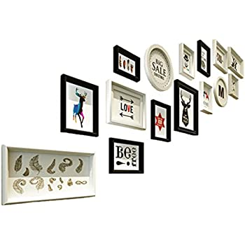 Photo Frame Sets, Solid Wood Stairs Photo Walls Wall Wall Combination  Creativity Hotel Stairway Photo Frames Photo Walls (Color : Black White, ...