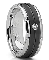 Two Tone Tungsten Carbide Wedding Band