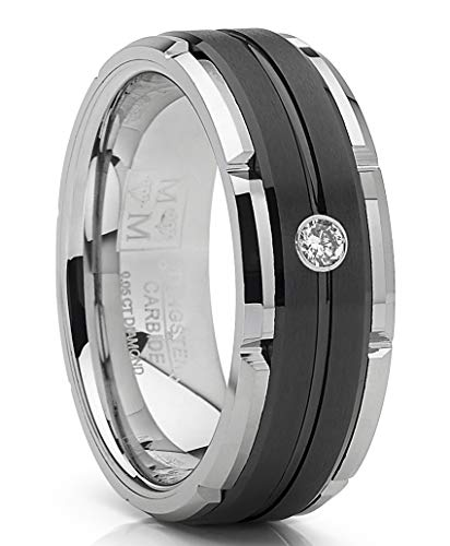 Metal Masters Co. Men's Tungsten Carbide Wedding Band Real Diamond .05 Two Tone Black Ring 8mm 12