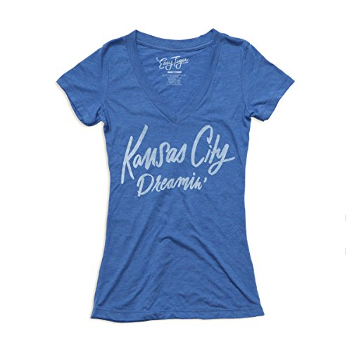 Easy Tiger Women's Fit T-Shirt (Small, KC Dreamin, Blue V-Neck)
