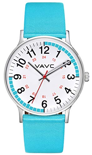 VAVC Nurse Watch for Doctors,Students and Medical Professionals with Second Hand. Easy to Read Quartz Wrist Watch