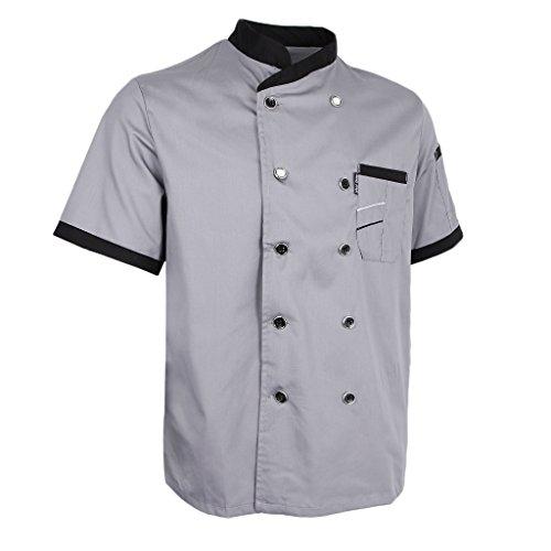Executive Jacket Chefs (Prettyia Unisex Summer Breathable Executive Chef Jacket Coat Kitchen Bakery Uniform Short Sleeves 5 Colors Chef Apparel M-2XL - Gray, L)