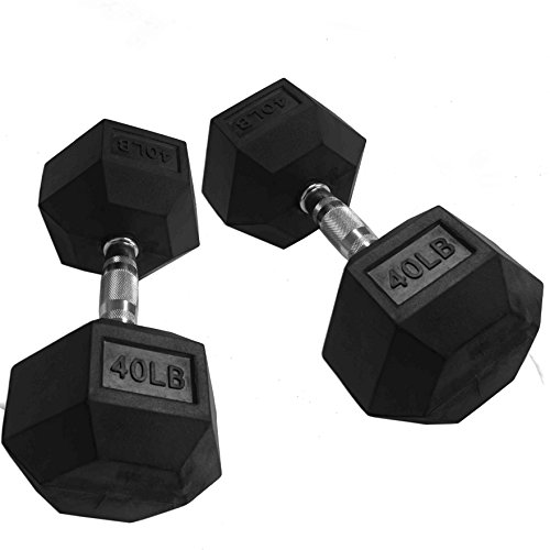 CAP Barbell Set of 2 Hex Rubber Dumbbell with Metal Handles, Pair of 2 Heavy Dumbbells Choose Weight (5lb, 8lb, 10lb, 15lb, 20 Lb, 25lb, 30lb, 35lb, 40lb, 50lb) (40lb x 2)