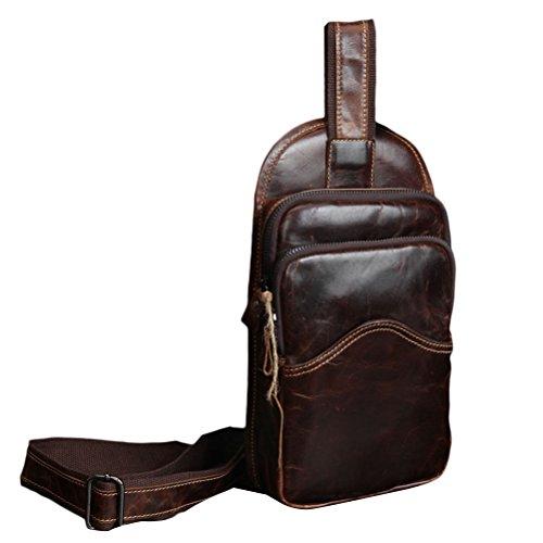 Zhhlaixing Bolsa de pecho Men's Cowhide Leather Waterproof Shoulder Chest Bag Men's Leisure Bag Travel Pouch Pack Coffee