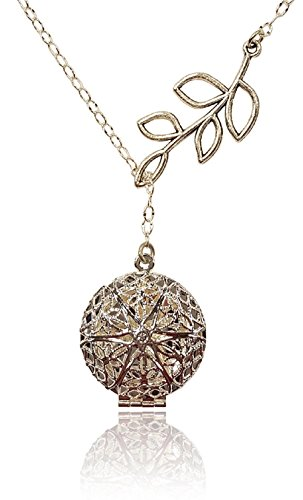 Unique Tree Branch Lariat Silver Tone Handmade Aromatherapy Essential Oil Diffuser Locket Necklace